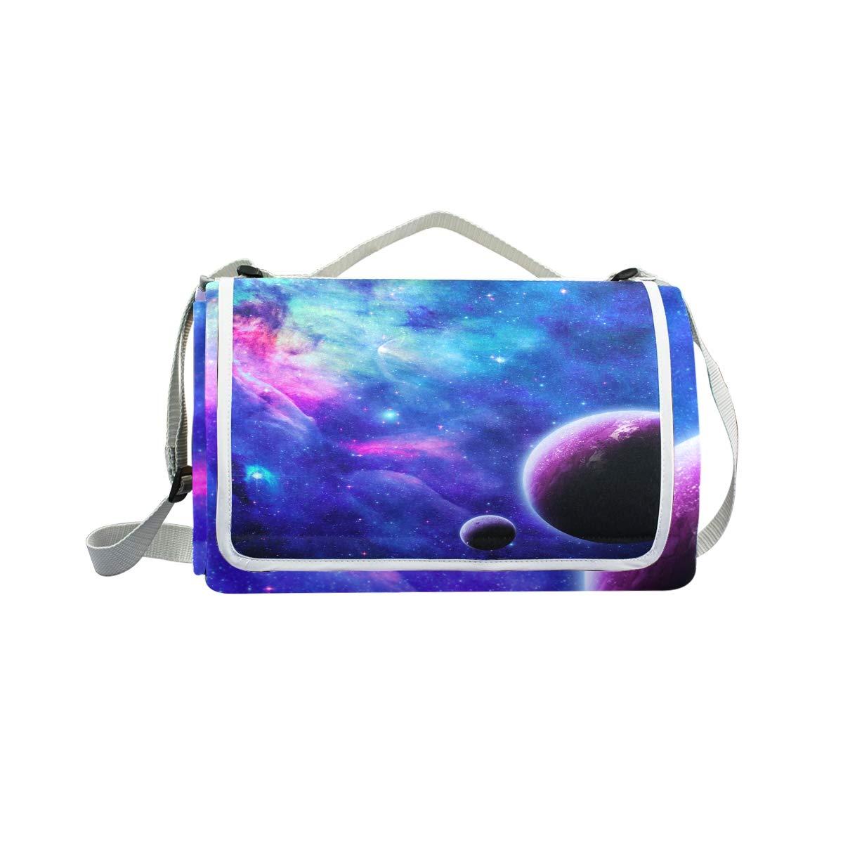 Jeansame Stars Galaxy Planets Nebula Universe Space Picnic Mat Coperta da Picnic, da Campeggio per Outdoor Viaggio Yoga Escursionismo Impermeabile Portatile Pieghevole 150 x 145 cm