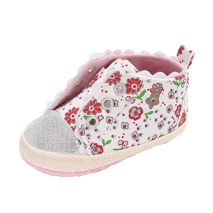 ZODOF Bebé Recién Nacido Bebé Niñas Zapato Flor Rota Cuna Suave Zapatillas Antideslizantes Zapatillas Respirable Mocasines