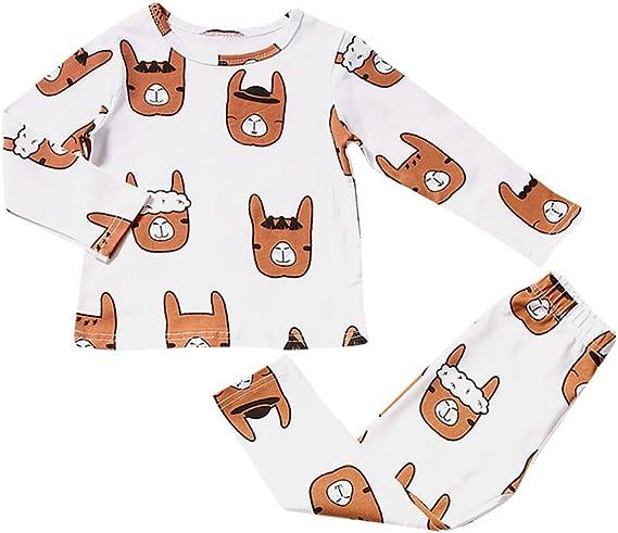 KUKICAT Pyjamas Enfant Service /à Domicile Imprim/é Top Manches Longues Col Rond Motif Lettres de Dinosaures Pantalon Sleepwear