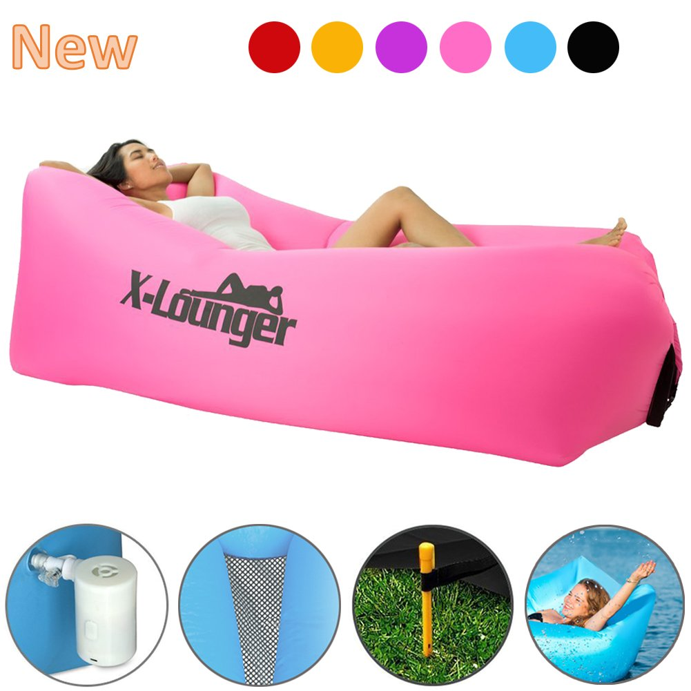 Inflatable Lounger withエアバルブ、高速Inflate byエアポンプまたは風AirバッグLounger withメッシュ、ナイロンAir Loungerのビーチ、キャンプ、プール、Float On水、Stay膨らませ5 to 8時間 B074HQNBDR  Rose Red without air pump