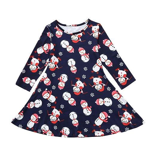 07b6aaf9bb123 Amazon.com: 1-5T Christmas Dress Baby Girls, Vinjeely Snowman Long Sleeve  Party Dress: Clothing