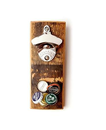 magnetic bottle opener reclaimed wood bourbon barrel - Magnetic Bottle Opener