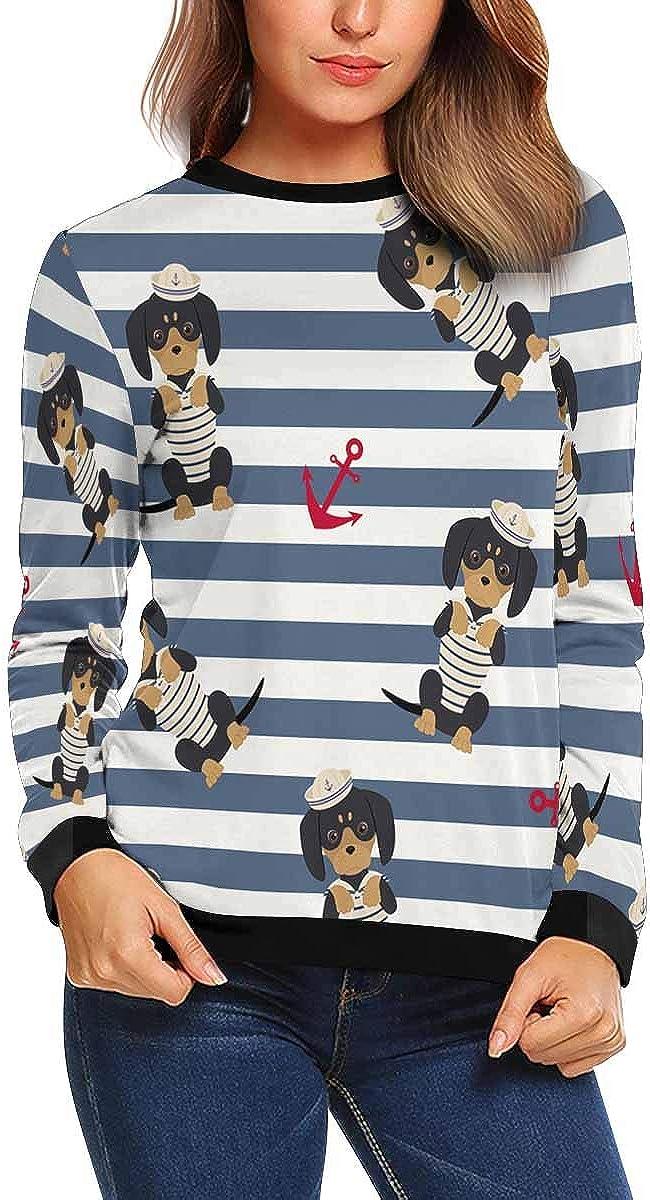 INTERESTPRINT Womens Casual Sweatshirt Cute Cats Glasses Pattern Crew Neck Pullover Tops