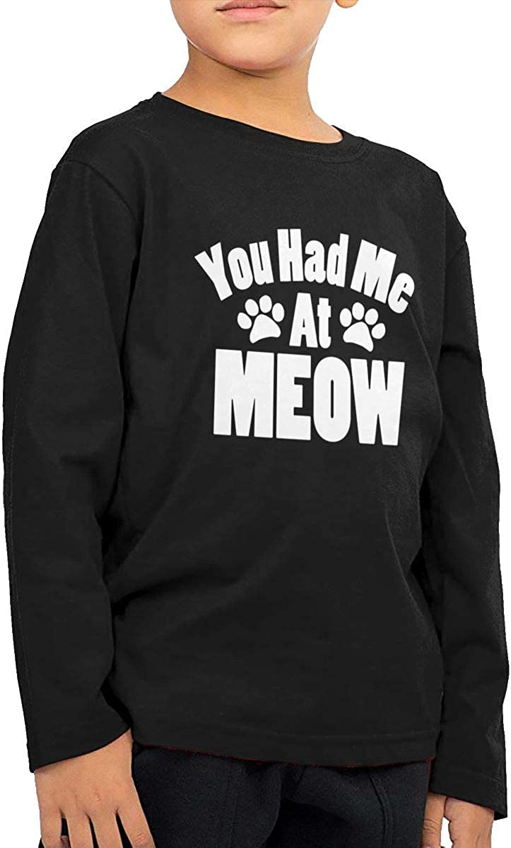 You Had Me at Meow Childrens Long Sleeve T-Shirt Boys Cotton Tee Tops