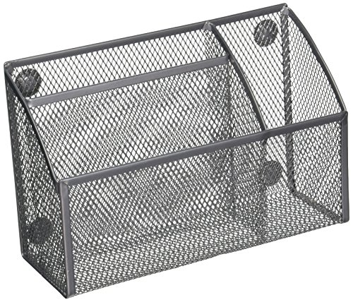 Honey Can Do Grey Mesh Magnetic 3-Compartment Desk Organizer