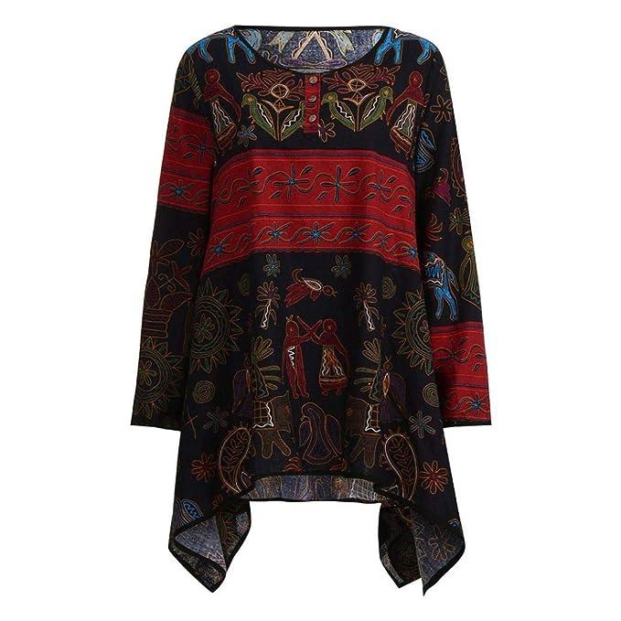 Blusa de Manga Larga Floja de Las Mujeres del Vintage Camisa Tapas de Lino Ocasionales del algodón de la impresión Camisetas Tops Blusa Pullover Outwear: ...