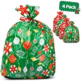 Large Christmas Gift Bags - Set of 4 Xmas Present 36'x44' Jumbo Extra Large Wrapping - Plastic Giant Gift Bags for Huge Gifts - Heavy Duty Big Gift Sack Set with Tags & String Ties