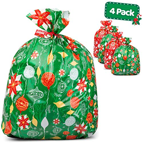 "Large Christmas Gift Bags - Set of 4 Xmas Present 36""x44"" Jumbo Extra Large Wrapping - Plastic Giant Gift Bags for Huge Gifts - Heavy Duty Big Gift Sack Set with Tags & String Ties"