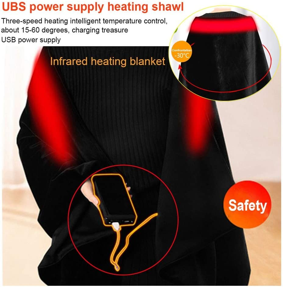 Women Electric Ultra Soft Throw Flannel Warm Cape For Car Office Chair Machine Washable 160x60cm Blanket Usb Heated Shawl Battery Operated Cordless Wrap With Auto Shutoff Blankets Throws Electric Blankets