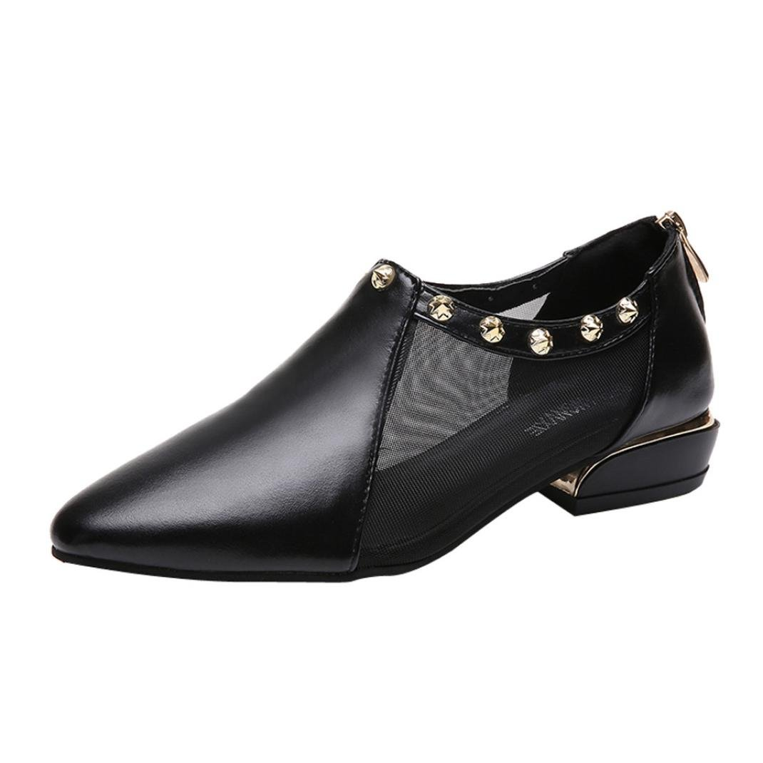 Zipper Rivets Pump Shoes,Clearance! AgrinTol Women Shallow Low Heel Flat Mesh Party Pointed Shoes
