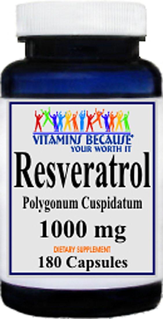 Resveratrol 1000mg, 180 Capsules - Heart/Cholesterol/Blood