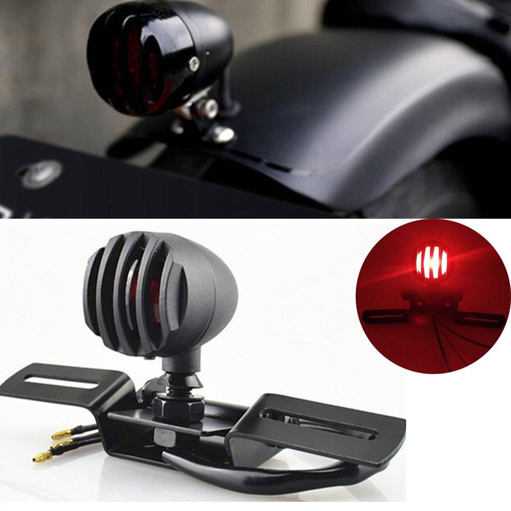 KaTur 1Pcs 12V 10W Motorcycle Tail Light Stop Licenses Brake Lamp for Chopper Bobber Cafe Racer, Bullet Steel Housing Motos Light for Harley