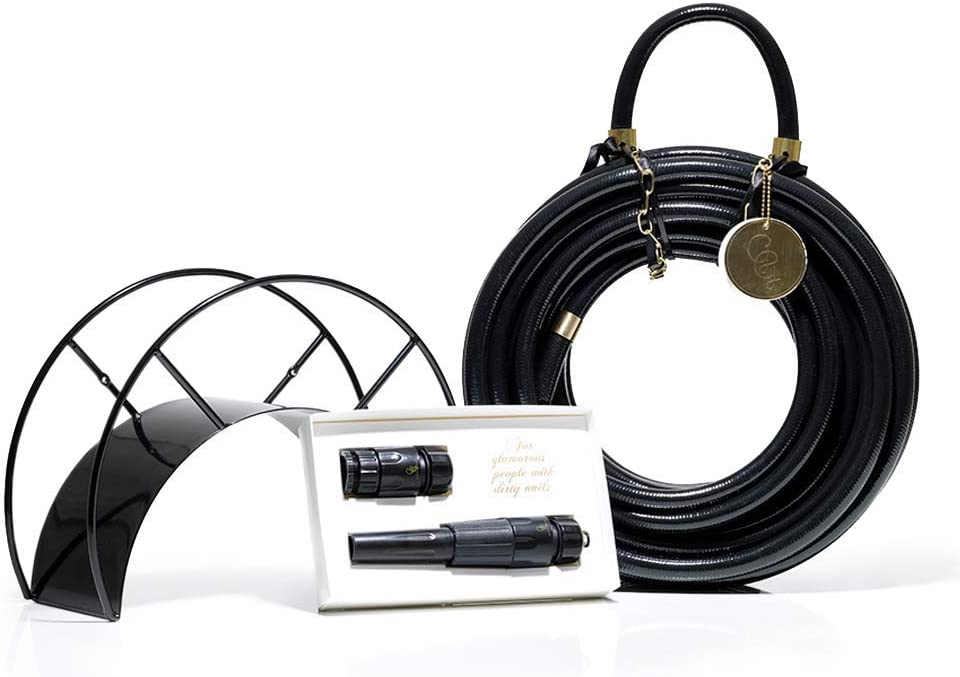 Black Garden Hose and Hose Holder Kit - Black Swan - Exclusive Designed Water Hose, Wall Mounted Hose Hanger, and Nozzle (Multiple Colors Available)
