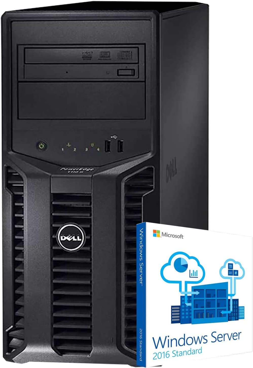 Dell PowerEdge T110 II Tower Server, Xeon E3-1220, 32GB DDR3, 8TB, PERC 6i RAID, DVD-ROM, Windows Server 2016 (Renewed)