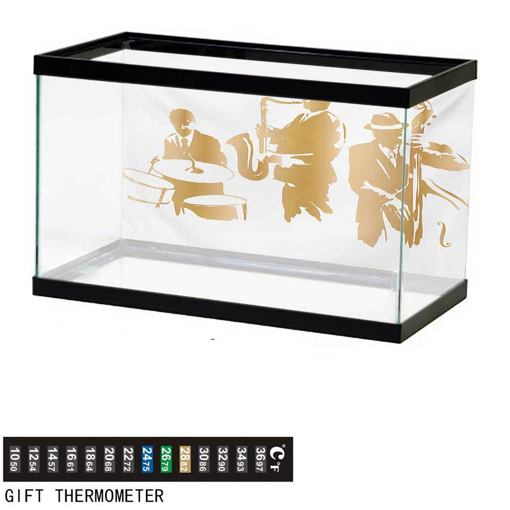 wwwhsl Aquarium Background,Music,Vintage Style Illustration of Jazz Band Playing The Blues Music Home Vibes Art,Sand Brown White Fish Tank Backdrop 72'' L X 24'' H