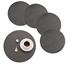 Round Placemats,Borlan Vinyl Place Mats Woven Washable Dining Table Mats Set of 4(Grey+Black)