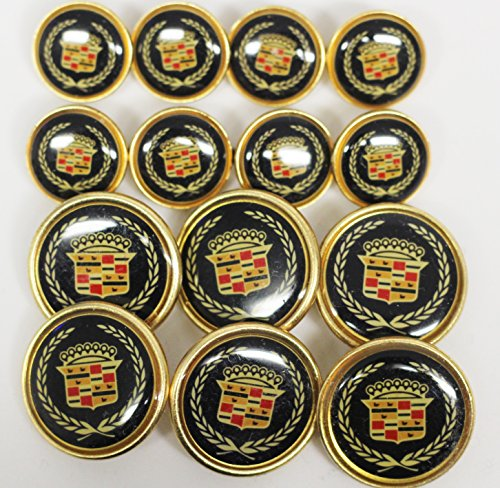 Vintage Waterbury Navy and multicolor crest 14 button set for blazers made in New England