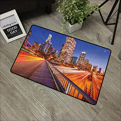 Bedroom Door mat W31 x L47 INCH Night,USA Downtown City Skyline Over The Highway Los Angeles California Travel Destination, Multicolor Non-Slip Door Mat Carpet -