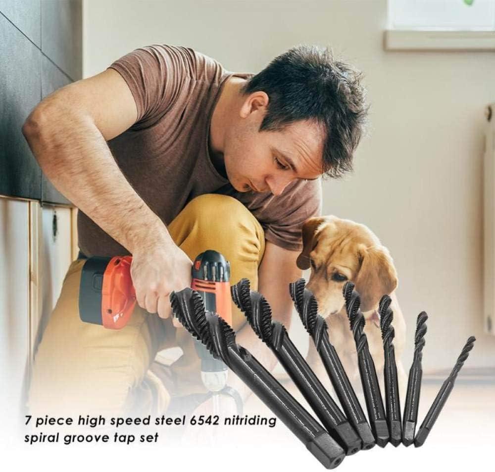 KXA 7pcs M3-M12 6542 Nitriding Coated Tap,Thread Spiral Metric Screw Tap Set Drill Bits Drilling Woodworking Tools
