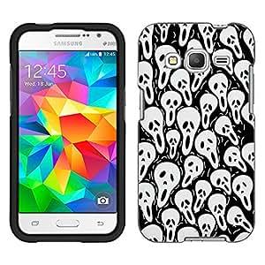 Samsung Galaxy Core Prime Case, Snap On Cover by Trek Multi Skull on Black Case
