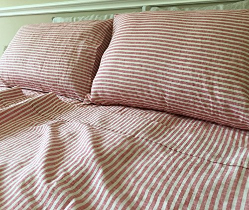 Red Ticking Striped Bed Sheets Handmade In Natural Linen, Red Striped Bed  Sheets, Red