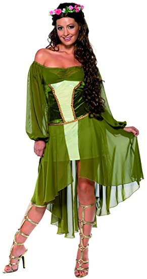 Women/'s White Medieval Maiden Fancy Dress Costume Maid Marion Hen Night Fun