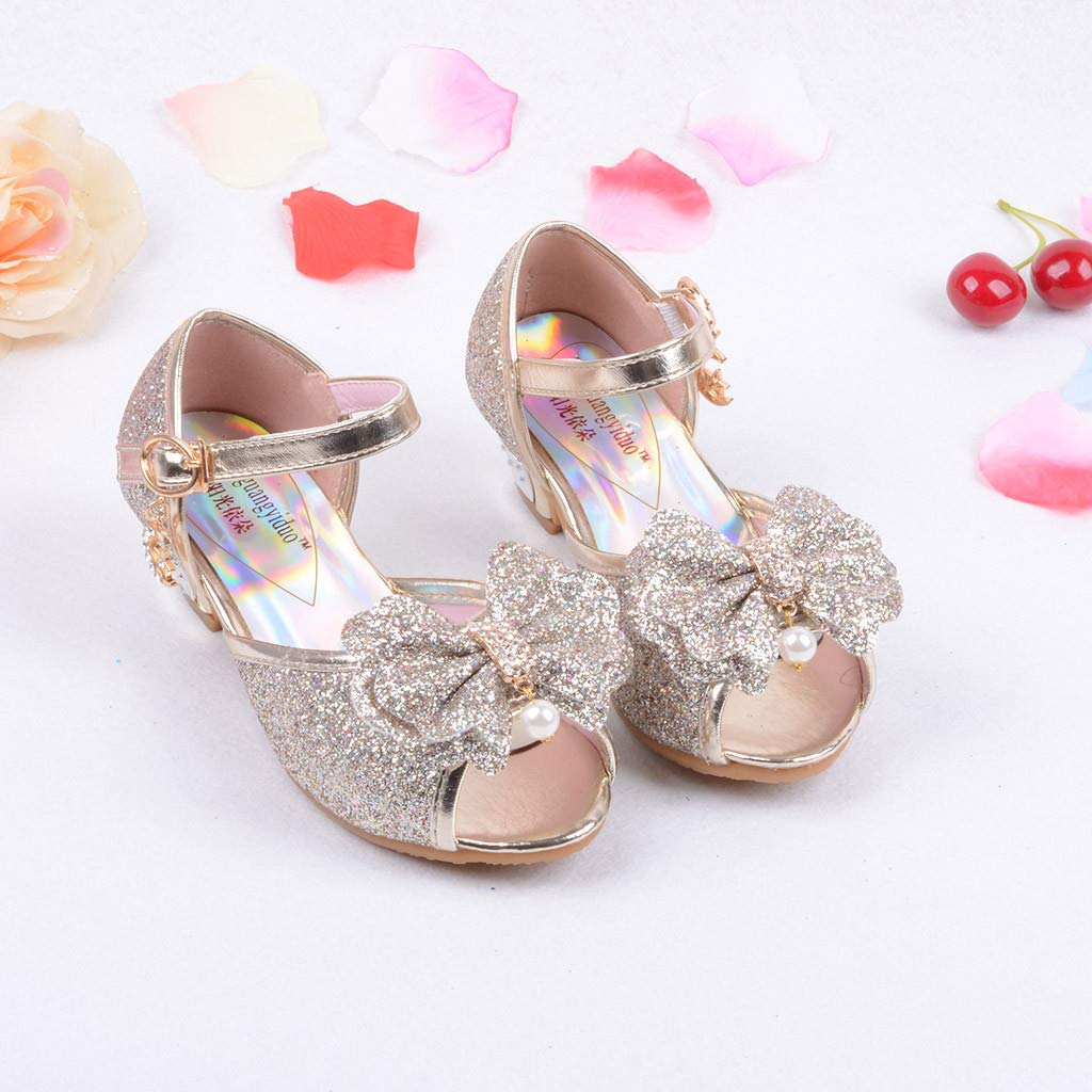 Baby Girls Bling Bowknot Single Princess Sandals Dancing Shoes Suma-ma Toddlers Girls Pearl Crystal Sandals