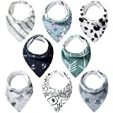 Lekebaby Bibs Baby Bandana Drool Bib for Boys and Girls, Organic Cotton Bibs for Teething and Drooling, Set of 8