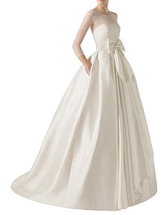 DAPENE Womens Illusion Long Sleeve Tunic Ball Gown Bridal Wedding Dress