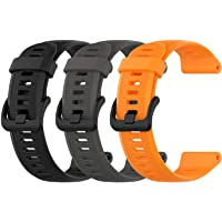 EEweca 3-Pack Silicone Bands for Garmin Forerunner 945 Smartwatch Replacement Strap (Black, Gray, Orange)