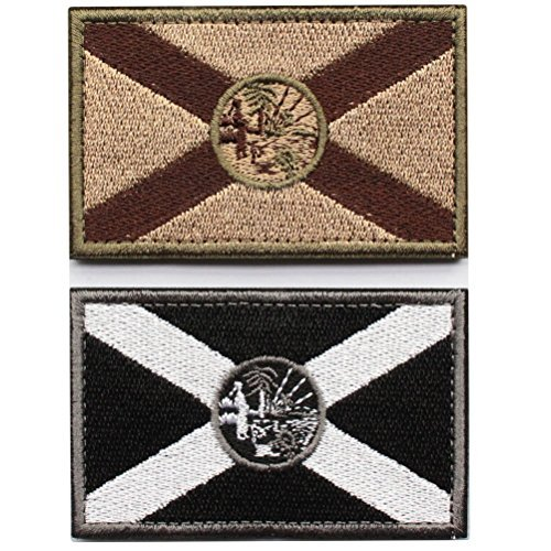Bundle 2 Pieces - Tactical Florida State Flag Patch with Backing Multi-tan Black White Decorative Embroidered -