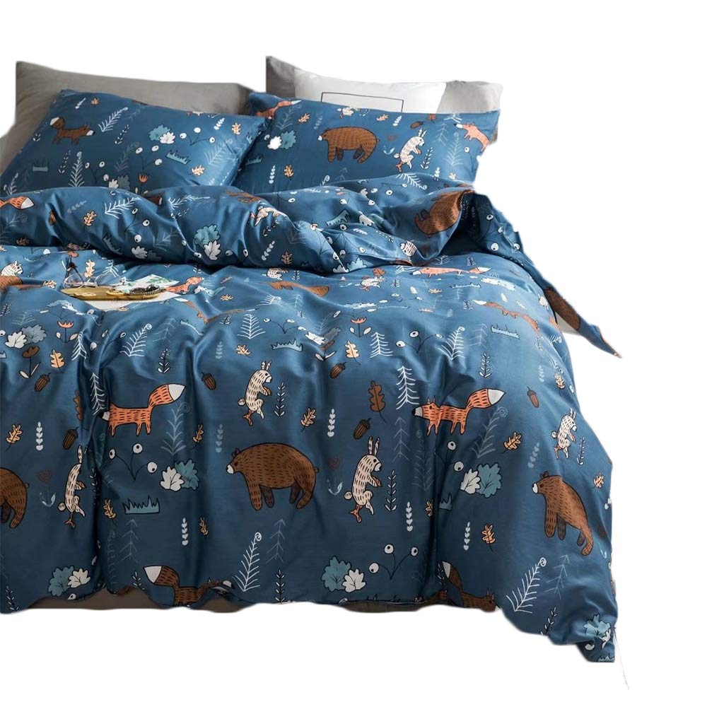 CLOTHKNOW Navy Blue Fox Bear Bedding Sets for Kids Duvet Cover Sets Full/Queen Boys Gift Rabbit Animal Forest 100 Cotton 3 Pieces - 1 Duvet Cover with Zipper Closure 2 Pillow Shams NO Comforter