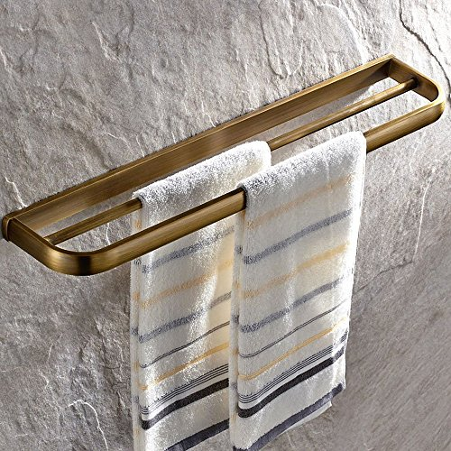 Leyden Retro Bathroom Accessories Solid Brass Antique Brass Finished Double Towel Bar Home Decor Towel rack Wall maounted (Antique Brass Double Towel Bar)