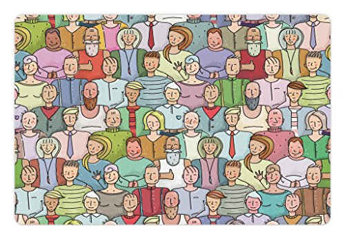 Lunarable Doodle Pet Mat for Food and Water, Colorful Men and Women Throng Portrait Smiling People Crowd Audience Illustration, Rectangle Non-Slip Rubber Mat for Dogs and Cats, Multicolor