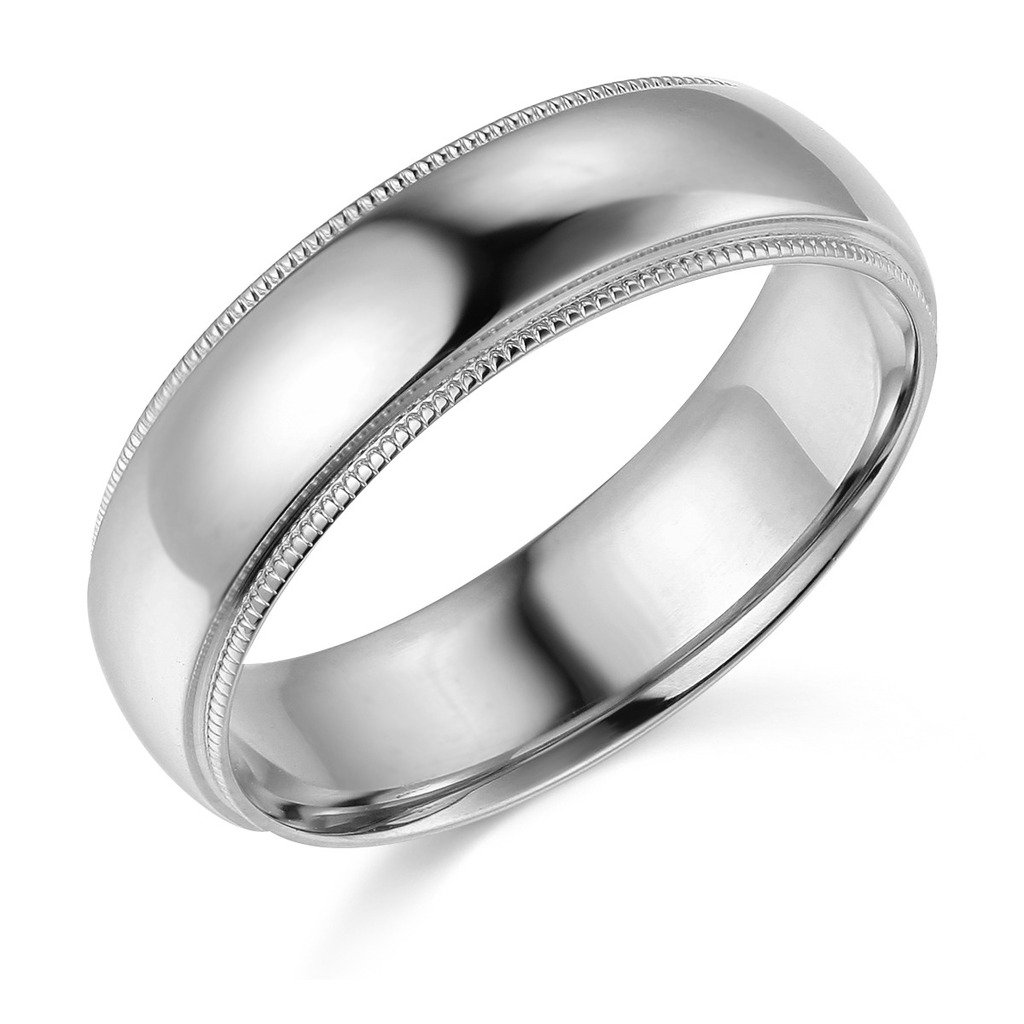 14k White Gold 6mm Comfort FIT Plain Milgrain Wedding Band - Size 10