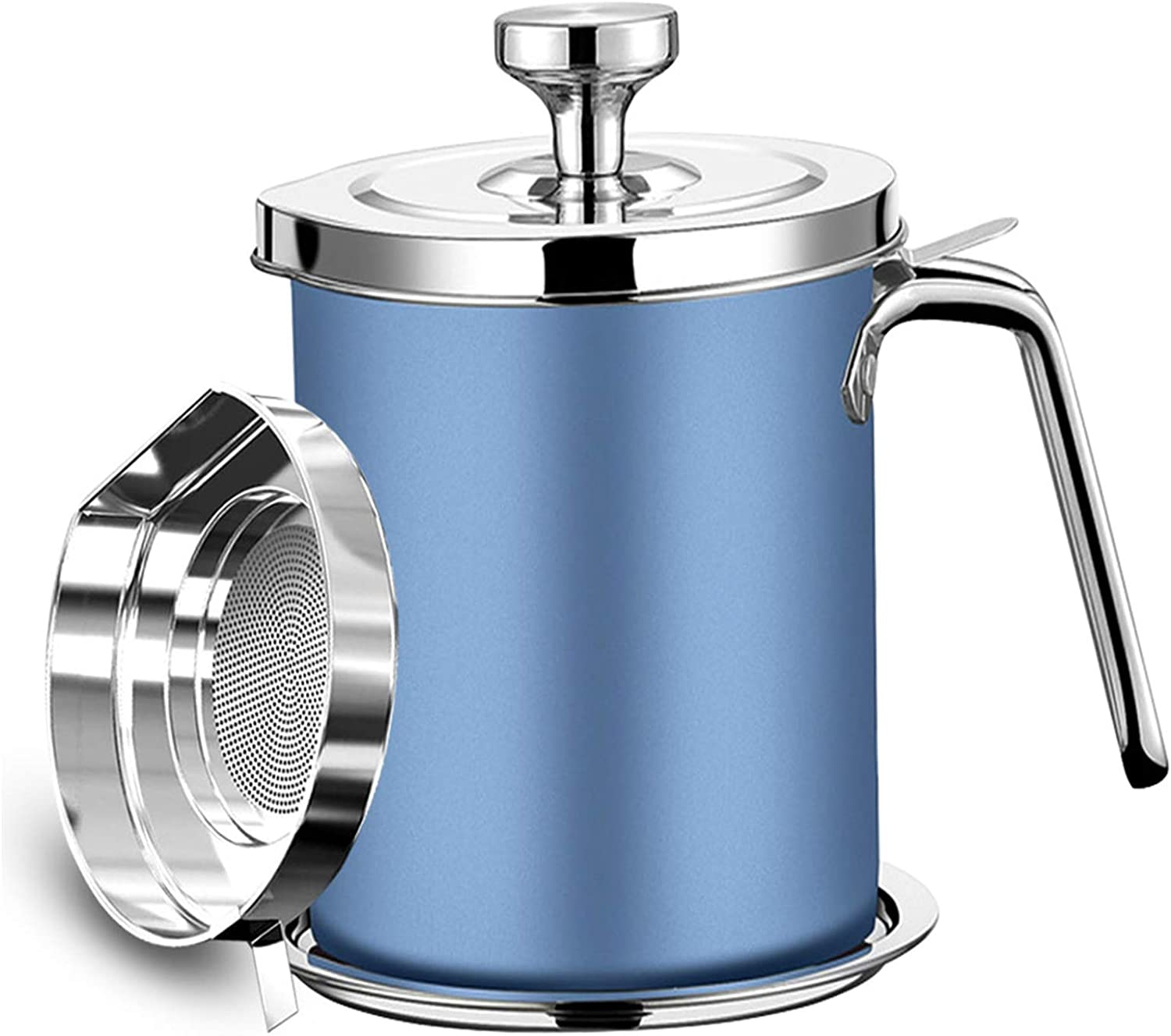 Bacon Grease Container, 304 Stainless Steel Grease Keeper, 1.3L Oil Storage Pot with Fine Mesh Strainer, Kitchen Cooking or Frying Oil (Blue)