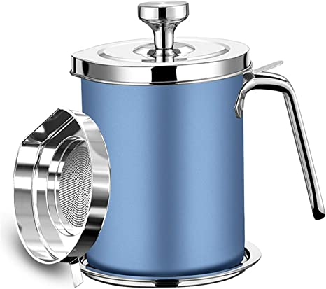 Stainless Steel Oil Container W// Strainer Storage Can Pot Bacon Grease Pot 1.7L