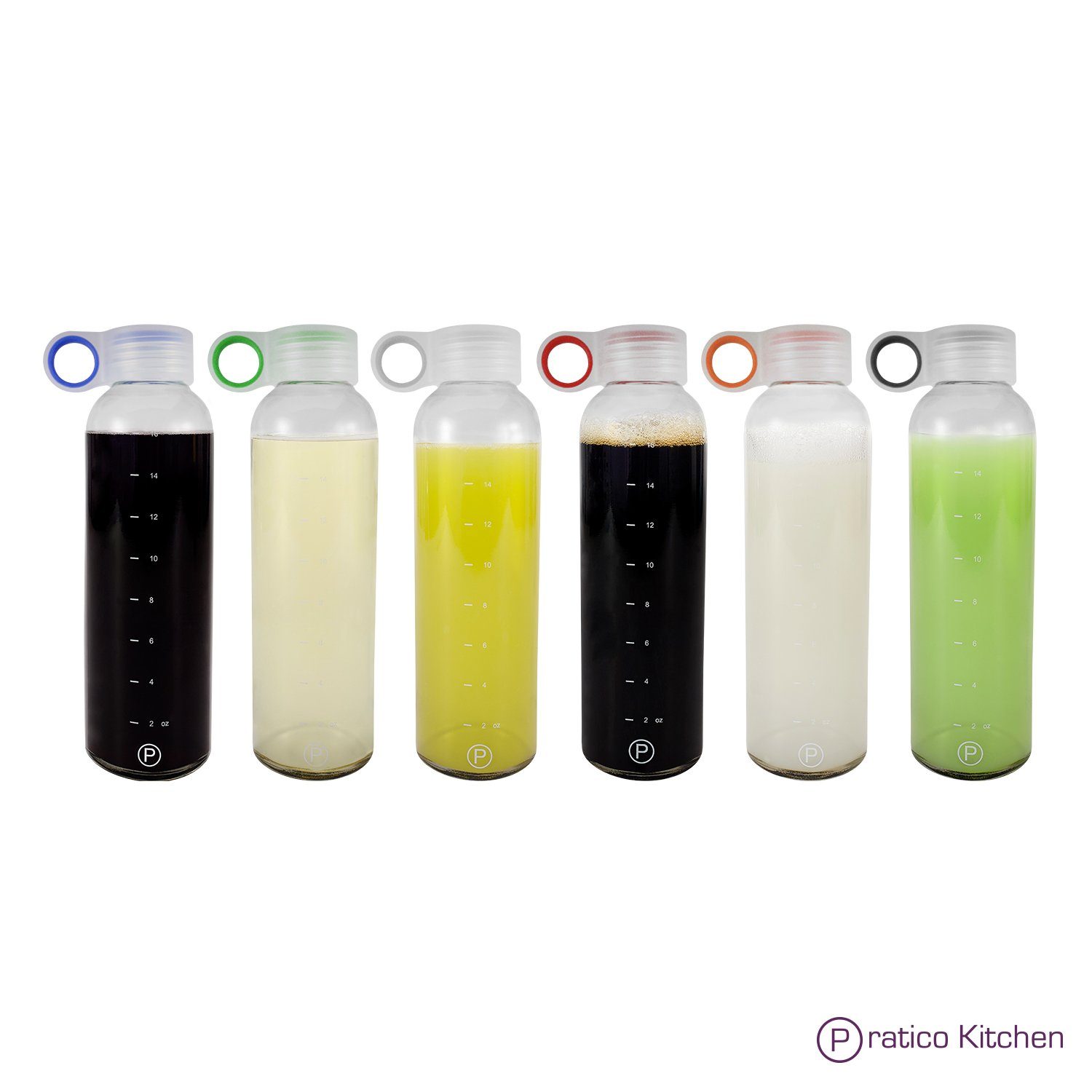 Pratico Kitchen 18oz Leak-Proof Glass Bottles, Juicing Containers, Water/Beverage Bottles - 6-Pack with Multi-Color Loop Caps by Pratico Kitchen (Image #1)