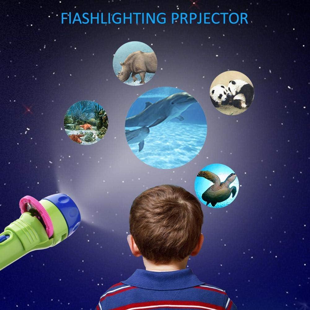 Antorcha Y Proyector De Animales para Ni/ños M/áquina De Aprendizaje De Proyector De Juguete Educativo Temprano Dreameryoly Libro De Cuentos De Linterna para Ni/ños