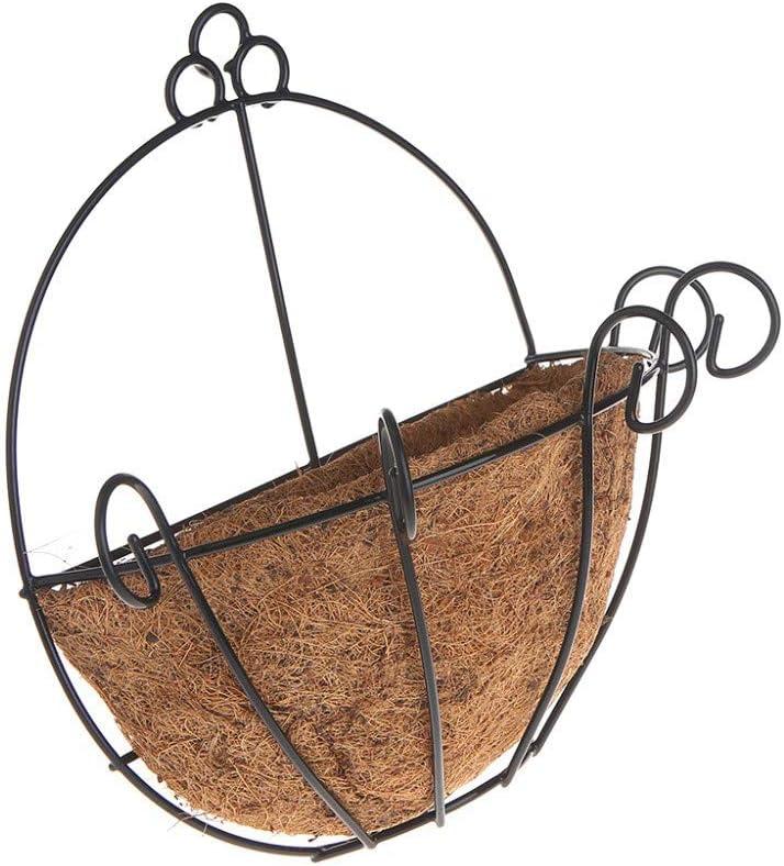 25cm Base De Coco Clásica Maceta De Hierro Forjado Hierro Bricolaje Jardineras Colgantes Cestas De Pared Maceta Media Ronda Jardinería Estantes De Decoración