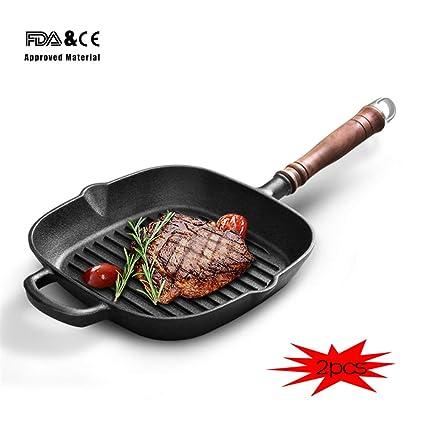 Zqword 25Cm Filete Parrilla Sartenes Desayuno Freír Huevos Sartén Antiadherente Cocina Sartenes Cocina 2Pcs