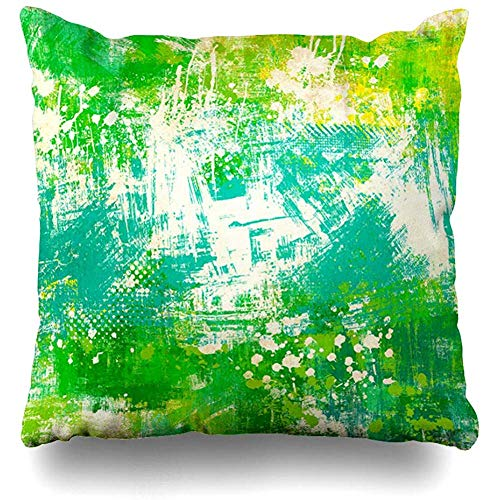 Throw Pillow Cover Decorative Cases Naive Emerald Green Abstract Yellow Age Ancient Antique Artistic Blots Design Dynamic Home Decor Cushion Case Square 18 x 18 Inches Zippered