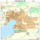 Large Street & Road Map of Lake Geneva, Wisconsin WI - Printed poster size wall atlas of your home town