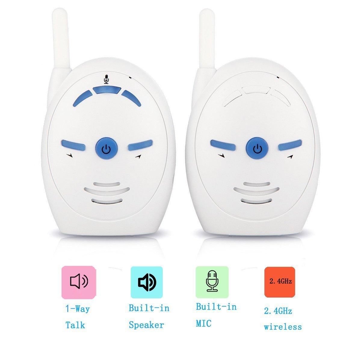 Ecoute-bébé VOSMEP Babycall , Audio Baby Monitor Numérique de 2.4Ghz , Moniteur de Voix pour Bébé Soutiens Batteries AAA BM016