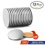 """Grade N52 Neodymium Disc Magnets By JACK CHLOE, Super Strong Magnets With 15Pcs Adhesive Backing, 1.26""""D X 0.08""""H, Idea For Fridge,Scientific Project, Craft, Powerful Rare Earth Magnets For Multi-Use"""