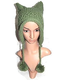 18dcd42a3c1 BIBITIME Women s Hat Cat Ear Crochet Braided Knit Caps Warm Snowboarding  Winter
