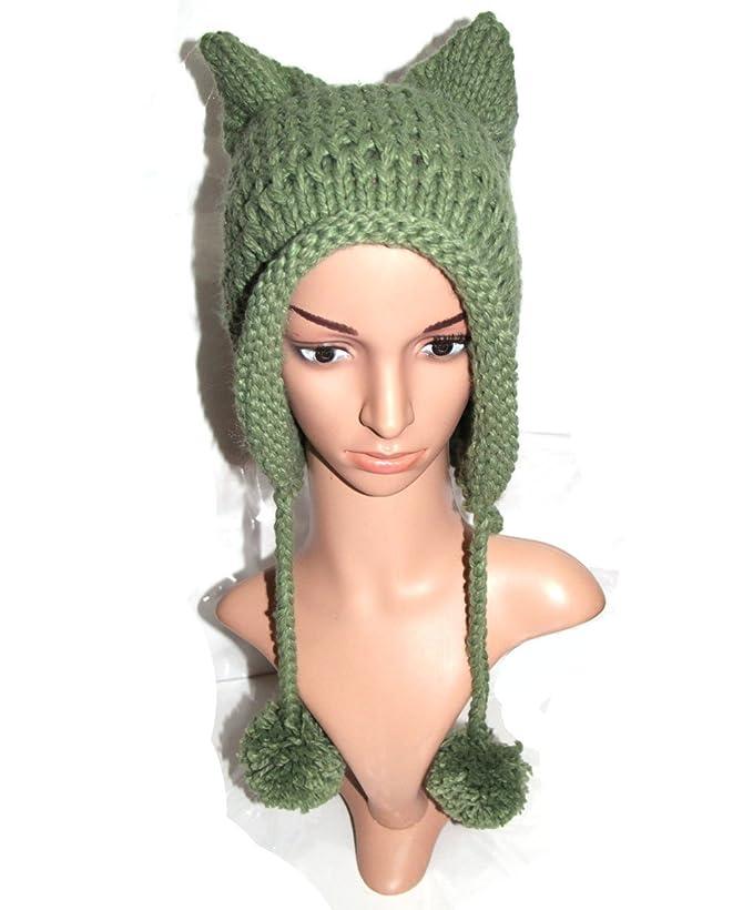 Bibitime Womens Hat Cat Ear Crochet Braided Knit Caps Warm