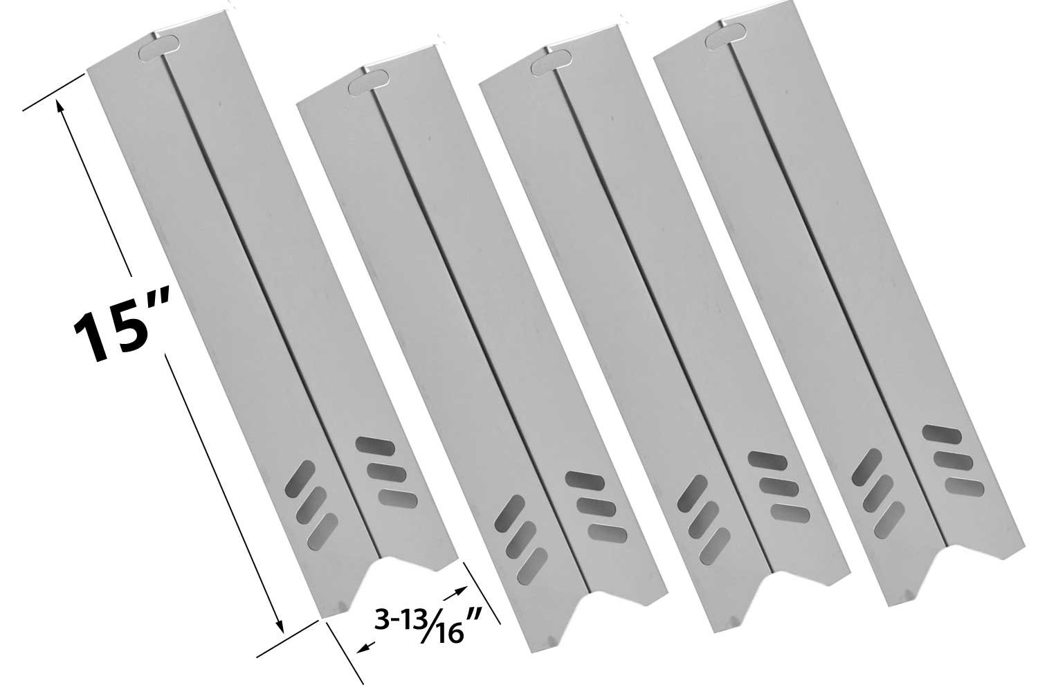 Bar.B.Q.S BSH91591 Stainless Steel Heat Plate Replacement for Select Uniflame Gas Grill Models, Pack of 4