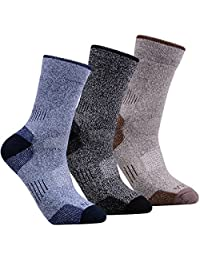 YUEDGE Men's 3 Pairs Wicking Cushion Outdoor Athletic Hiking Walking Crew Socks