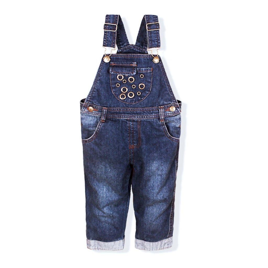 Bambino Salopette Jeans Tuta Blu Denim Ragazze Ragazzi Pantaloni Lunghe 2-3 Anni Ltd